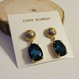 Tory Burch stone pearl drop earrings